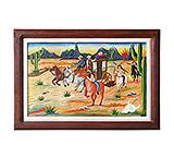 Cowboys & Indians Carved Relief Painting