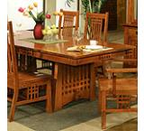 Mission Oak Trestle Dining Table