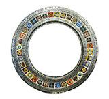Round Tile Mirrorw/ Multi-colored Tiles