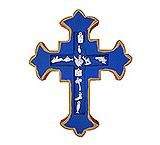 Blue & Gold Cross with Silver Milagros