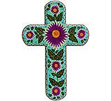 Green Cross with Multicolored Flowers