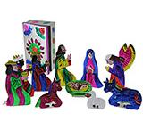Large Painted Nativity Set w/ Tin Box
