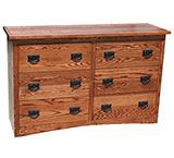 American Mission Oak Small 6 Drawer Dresser