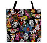 Skeletons on Black Halloween Tote Bag