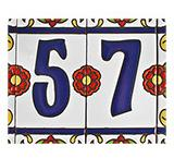 House Numbers: White with Red Flowers