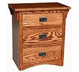 American Mission OakThree Drawer Nightstand