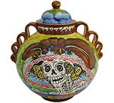 Day of the Dead Small Majolica Ginger Jar