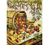 Chili HarvestMajolica Tile Mural