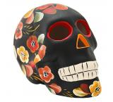 Ceramic Skull w/ Painted Flowers