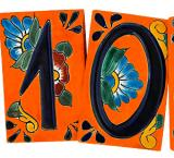 House Numbers:Tangerine Flower Talavera