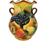Assorted Fruit Majolica Vase
