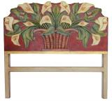 Red Calla Lilies Queen Carved Headboard