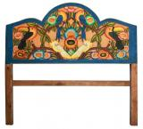 Tropical Birds Queen Carved Headboard