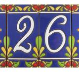 Tile House Numbers: Blue w/ Red Flowers