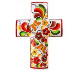 White Cross with Flowers & Butterflies