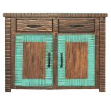 Small New Mexico Cabinet: Turquoise Finish