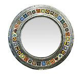 Round Tile Mirror w/ Multi-colored Tiles