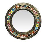 Round Tile Mirror w/ Day of the Dead Tiles