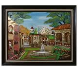 Vista con Fuente Metal Relief Painting