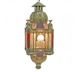 Cathedral Lantern w/Antiqued Glass