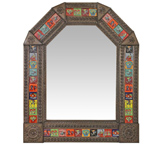 Arched Tile Mirror w/ Day of the Dead Tiles