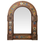 Arched Tile Mirrorw/ Multi-colored Tiles