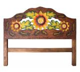 Sunflowers in Bloom Carved Headboard