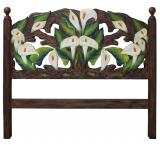 Calla Lilies Carved Headboard