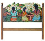 Indias con Alcatraces Carved Headboard