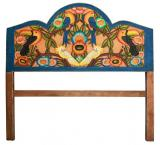 Tropical Birds Carved Headboard