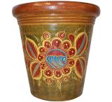 Extra Large Clay Planter: Red & Blue Flowers