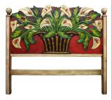 Red Calla Lilies Carved Headboard