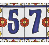 Tile House Numbers: White w/ Red Flowers