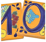 Talavera House Numbers: Orange Floral