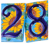 Talavera House Numbers: Blue Sunflowers