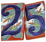 House Numbers: Red Talavera Lilies