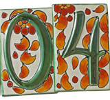 Talavera House Numbers: Fall Flowers