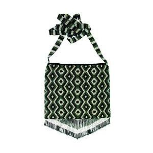 Beaded Purse:Silver, Green & Black