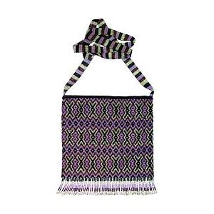 Beaded Purse:Purple, Silver & Black