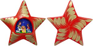 Red Nativity Star Ornament
