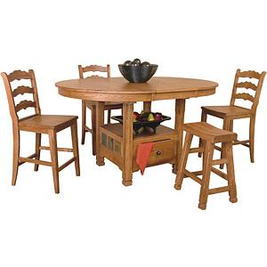 Rustic OakOval Family Table w/Storage
