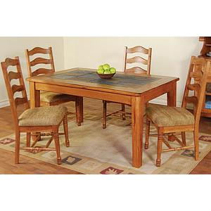 Rustic OakSlate Top Dining Table