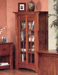 Mission OakSliding Door Bookcase