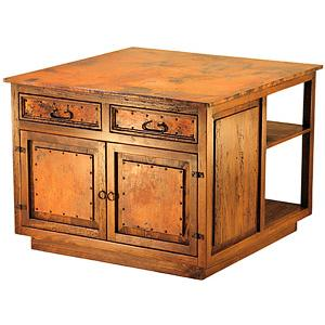 2-Door Kitchen Island w/Copper