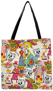 Skeletons on WhiteHalloween Tote Bag