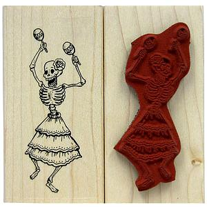 Dancing SkeletonRubber Stamp