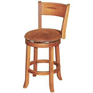 Rustic Oak Swivel Barstool w/Back