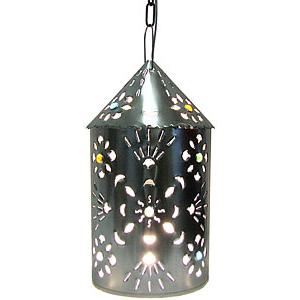 Puebla Lantern w/Marbles:Natural Finish