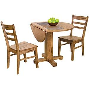 Rustic OakDrop Leaf Table w/Slate