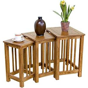 Rustic Oak  Tall 3-Piece Nesting Table